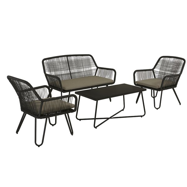Marli 4 Piece Rattan Sofa Seating Group with Cushions by Novogratz