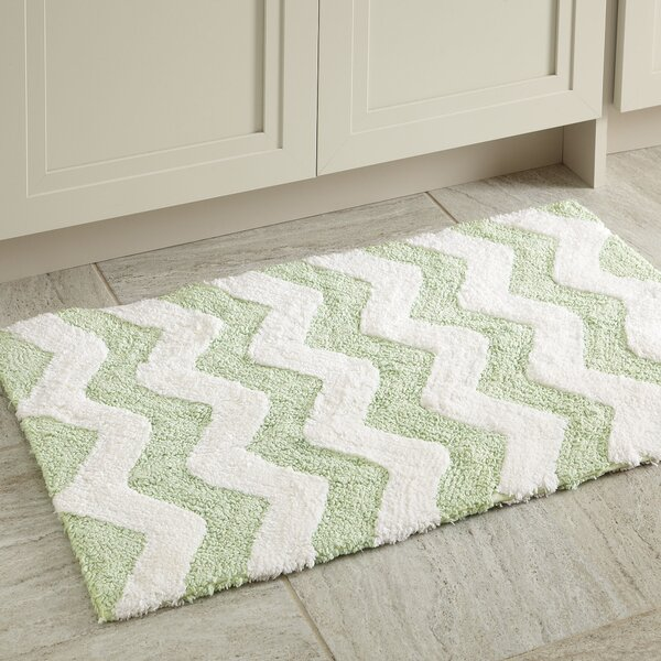 Sharla Rectangle 100% Cotton Reversible Chevron Bath Rug