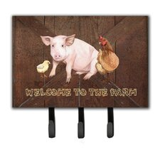 Welcome To The Farm with The Pig and Chicken Leash Holder and Key Hook by Caroline's Treasures