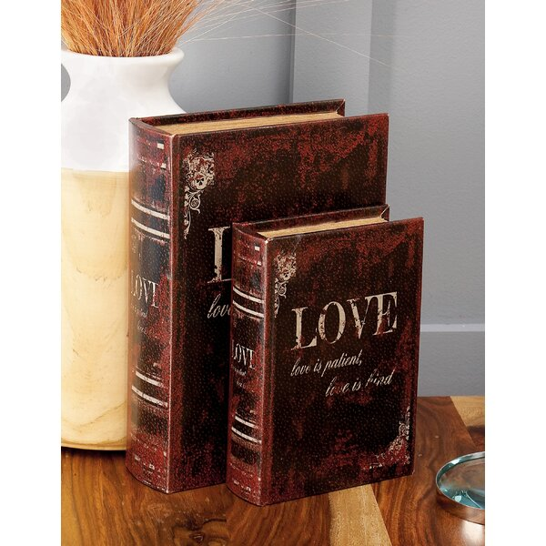 Brown Wooden and Leather Book Box (Set of 3) by Alcott Hill