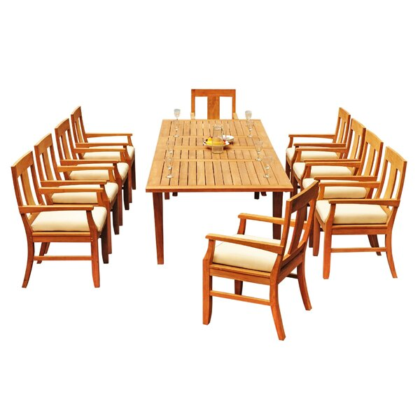 Antony 11 Piece Teak Dining Set by Rosecliff Heights