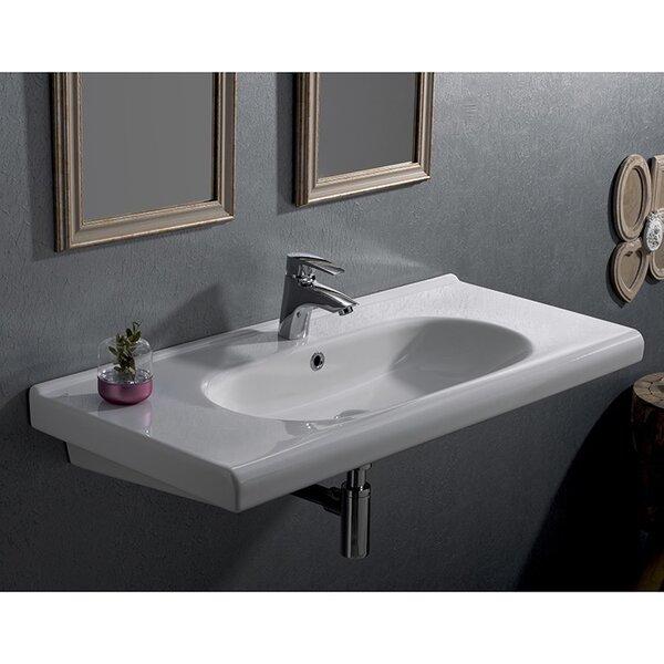 City Ceramic Rectangular Drop-In Bathroom Sink with Overflow by CeraStyle by Nameeks