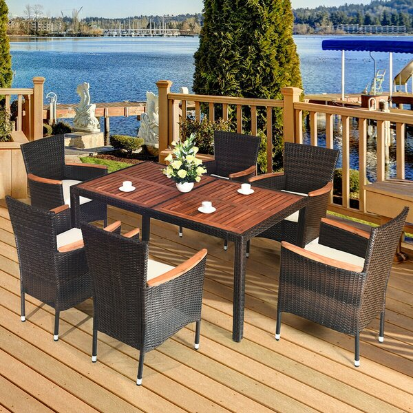 Dasha Outdoor 7 Piece Dining Set with Cushions by Latitude Run