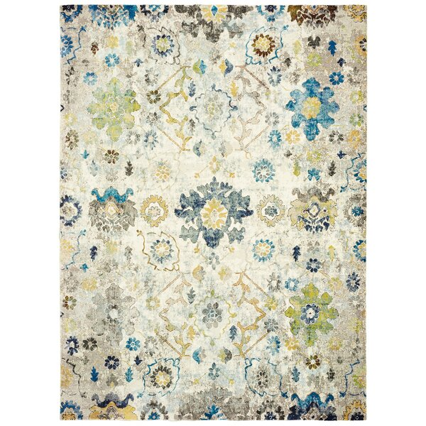 Amory Distressed Botanical Cream/Gray/Blue Area Rug by Bloomsbury Market