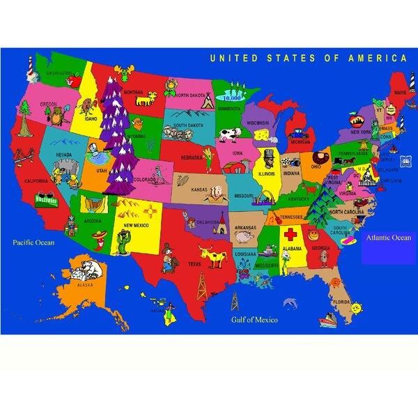 Fun Learning USA Cartoon Map Area Rug by Kids World Carpets