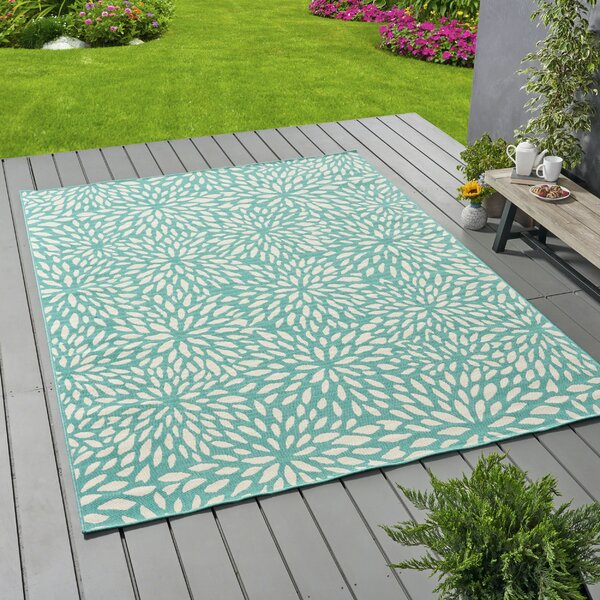 Bruss Floral Blue Indoor/Outdoor Area Rug by Ivy Bronx