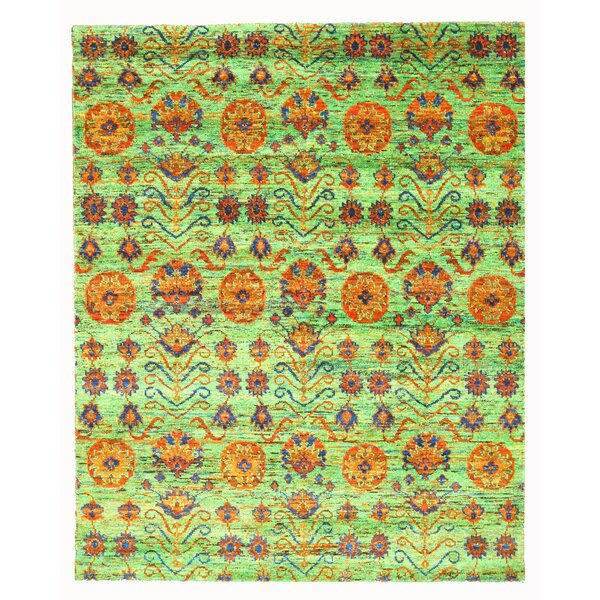 Hand Knotted Green Area Rug by Meridian Rugmakers