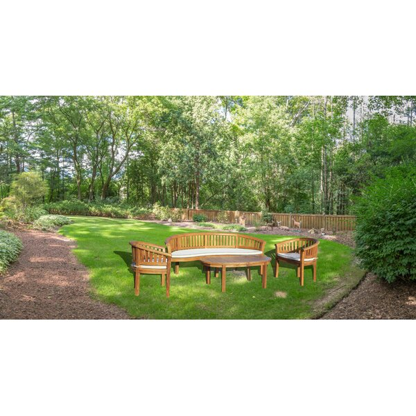 Meyer 4 Piece Teak Sofa Seating Group with Sunbrella Cushions by Bay Isle Home