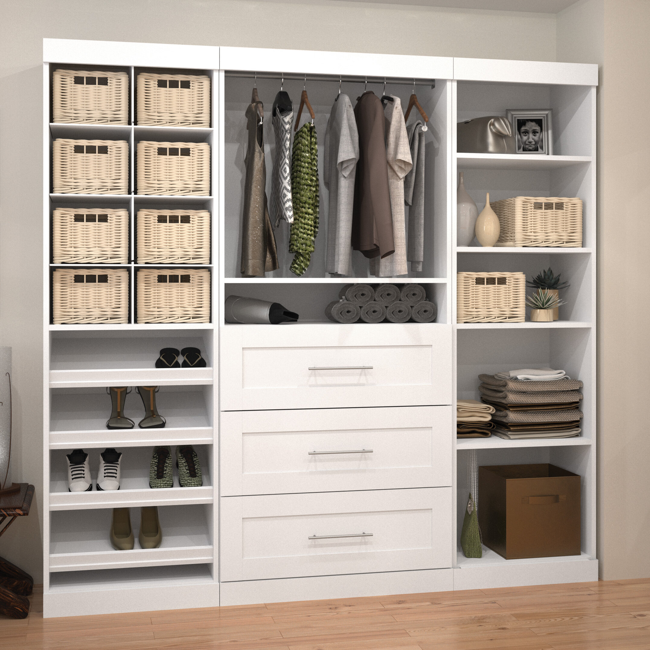 units closet in drawers walk storage corner organizer of white fashionable pine with shelving wood