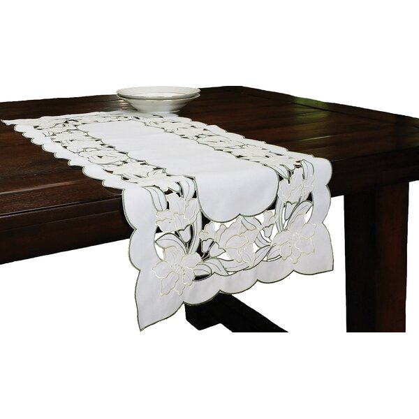 Magnolia Embroidered Cutwork Table Runner by Xia Home Fashions
