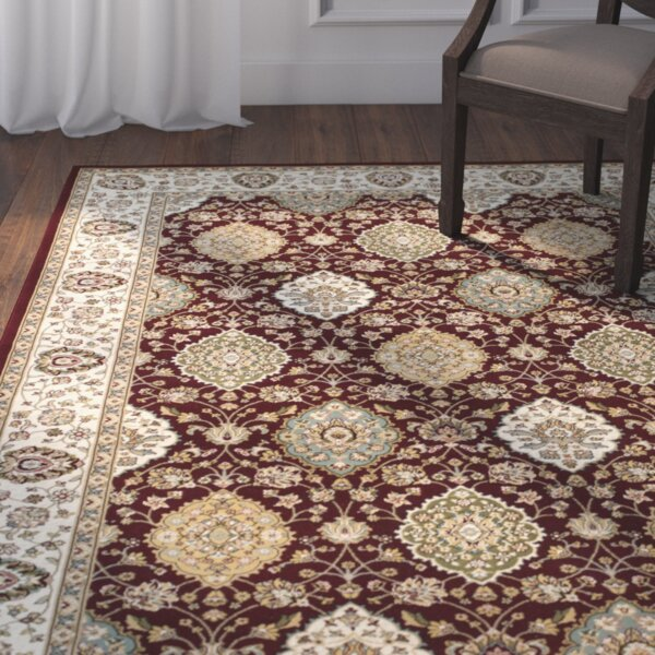 Arietta Ruby/Ivory Area Rug by Charlton Home