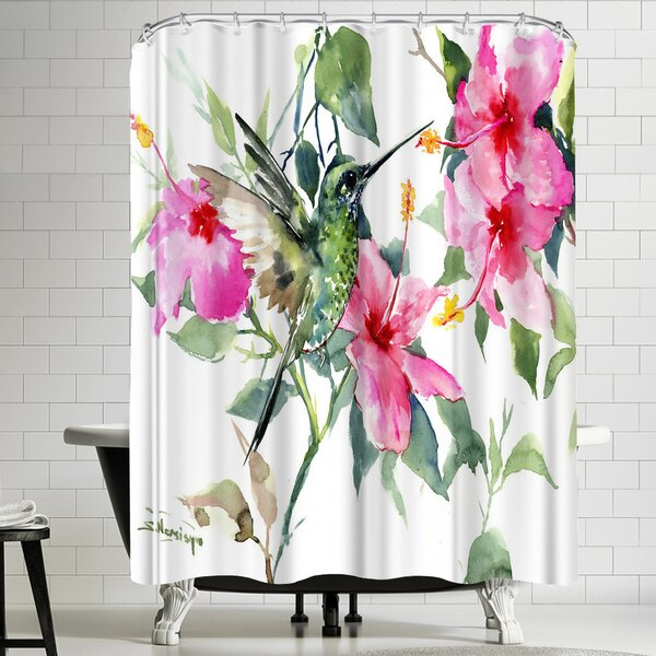 Suren Nersisyan Hibuscus and Hummingbird Shower Curtain by East Urban Home