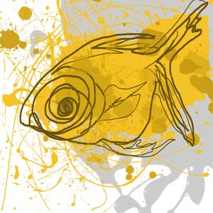 'Yellow Fish' Painting Print on Wrapped Canvas by Zipcode Design