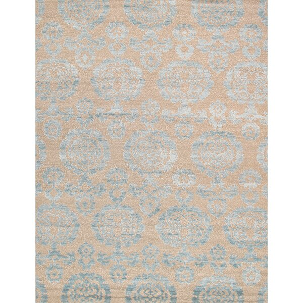 Transitional Hand-Knotted Tan Area Rug by Pasargad