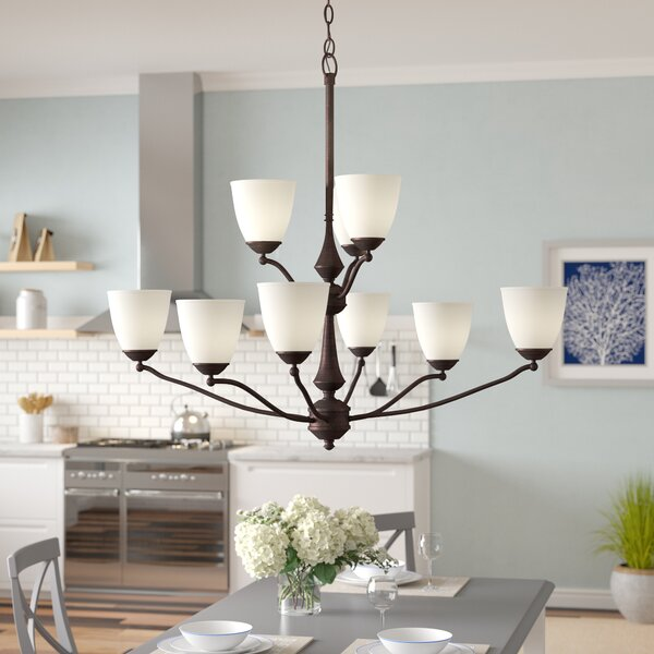 Rockford 9 - Light Shaded Tiered Chandelier by Beachcrest Home Beachcrest Home
