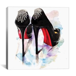 'Christian Louboutin Classic Heels' Painting on Wrapped Canvas by Willa Arlo Interiors