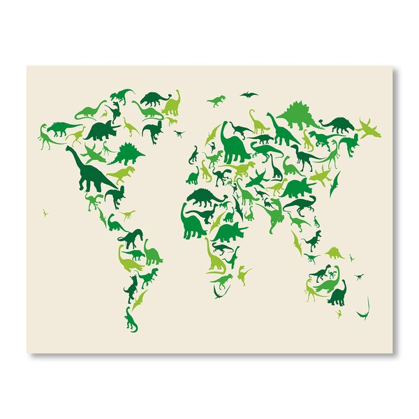Dinosaur Map Wall Mural by Americanflat
