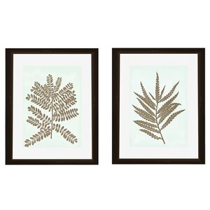 Leaves Silhoutte 2 Piece Framed Graphic Art Set by PTM Images