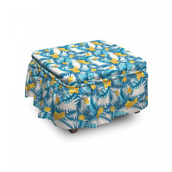 Review Exotic Leaf Monstera Palm Ottoman Slipcover (Set Of 2)
