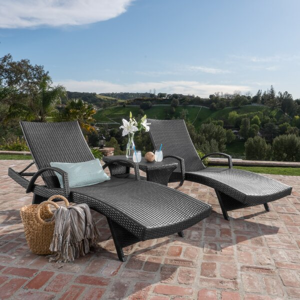 Rebello Sun Lounger Set with Table by Sol 72 Outdoor Sol 72 Outdoor