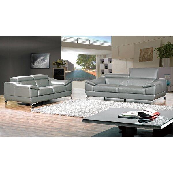 #1 Richert 2 Piece Leather Living Room Set By Orren Ellis Design
