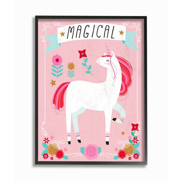 Venus Magical Colorful Unicorn Framed Art by Harriet Bee