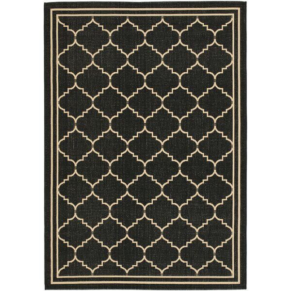 Short Black/Creme Outdoor Area Rug by Winston Porter