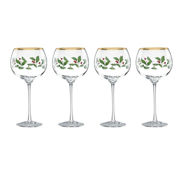 Holiday Balloon 16 oz. Wine Glass (Set of 4) by Le
