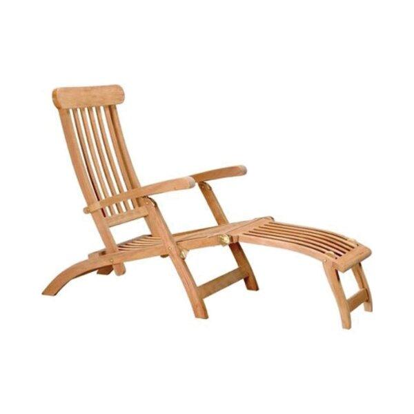 Lowndesboro Outdoor Patio Garden Pool Teakwood Steamer Chair