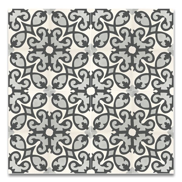 Agadir 8 x 8 Agadir  Handmade Cement Tile  in Gray/Black by Moroccan Mosaic
