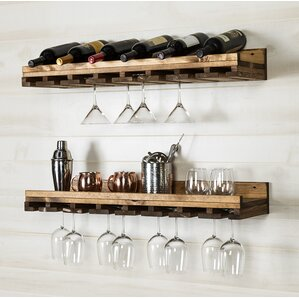 Windsor Rustic Luxe Tiered Wall Mounted Wine Glass Rack (Set of 2) by Loon Peak