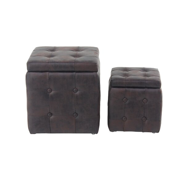 Leverette Contemporary Square 2 Piece Accent Stool Set by Charlton Home