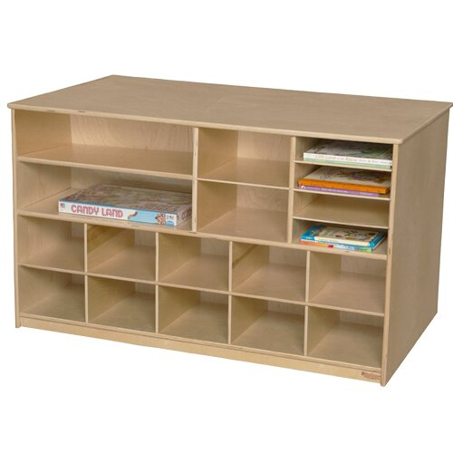 Versatile Portable 18 Compartment Cubby with Casters by Wood Designs