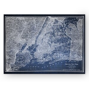'NYC Sketch Map' Graphic Art Print on Wrapped Canvas in Blue by Wexford Home