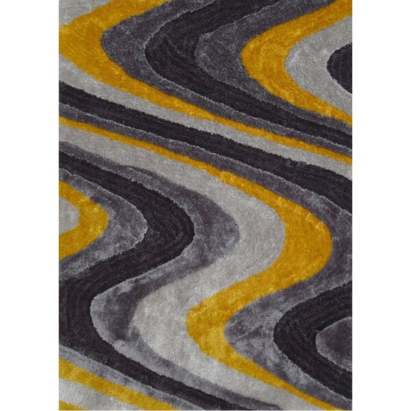 Living Shag Yellow/Gray Rug by Rug Factory Plus