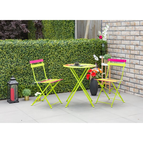 Bales Outdoor 3 Piece Metal Folding Bistro Set by Wrought Studio
