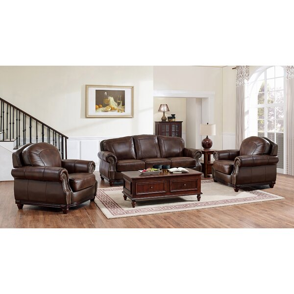 Rude Leather 3 Piece Living Room Set by Canora Grey