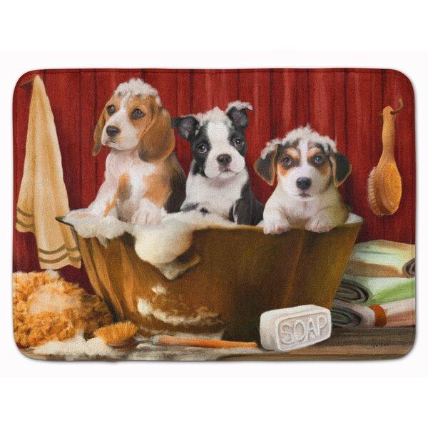 Beagle Boston Terrier and Jack Russell Rectangle Microfiber Non-Slip Bath Rug