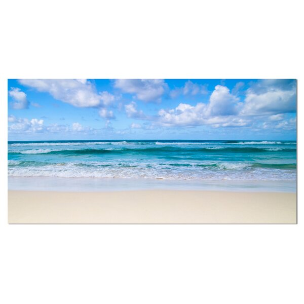 Serene Blue Tropical Beach Large Seashore Photographic Print on Wrapped Canvas by Design Art