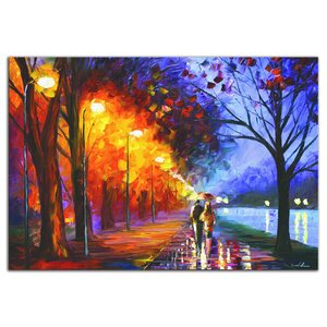'Alley by the Lake' by Leonid Afremov Painting Print Plaque by Metal Art Studio