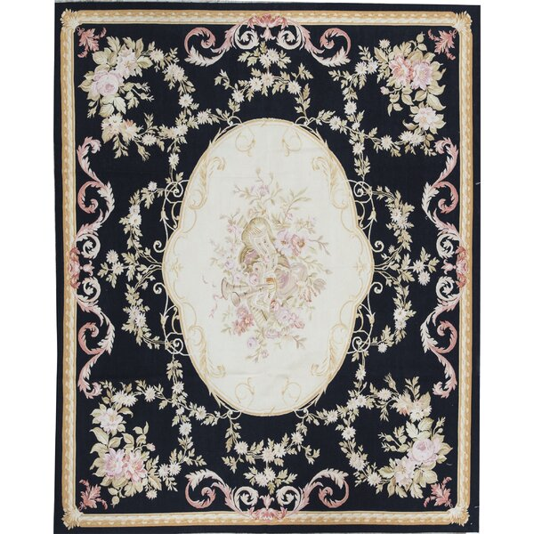 Aubusson Oriental Hand-Knotted Wool Black/Gold Area Rug