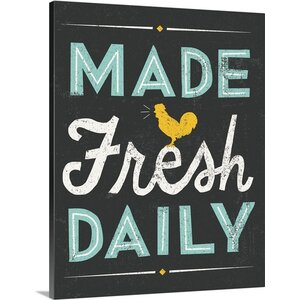 'Retro Diner Made Fresh Daily' by Michael Mullan Textual Art on Wrapped Canvas by Great Big Canvas