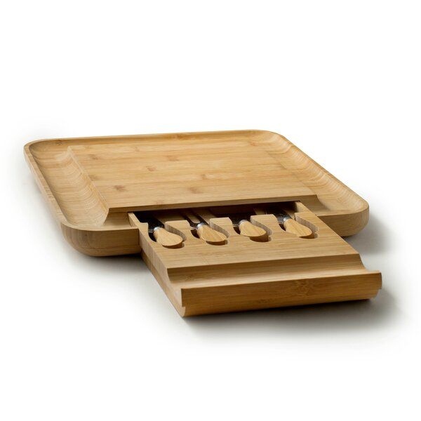 Bambusi Cheese Board with Cutlery Set by Symple Stuff