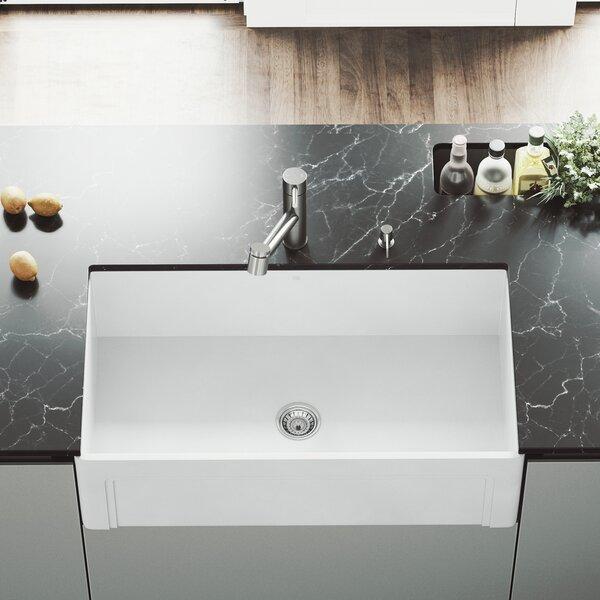 VIGO Matte Stone 33 L x 18 W Farmhouse Kitchen Sink with Faucet by VIGO