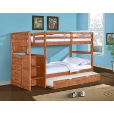 Ranch Twin Bunk Bed with Trundle and Storage by Donco Kids