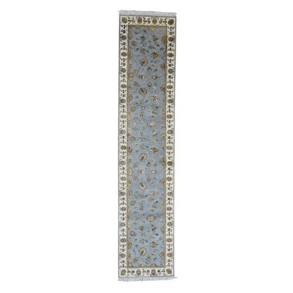One-of-a-Kind Ducan Half and Half Rajasthan Oriental Hand-Knotted Silk Blue Area Rug by World Menagerie