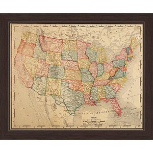 'Colored Map Of The United States' Framed Graphic Art Print on Canvas by Charlton Home