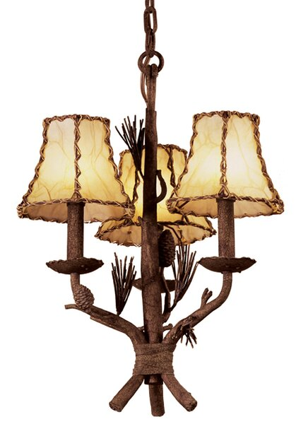 Ponderosa 3-Light Shaded Chandelier by Kalco