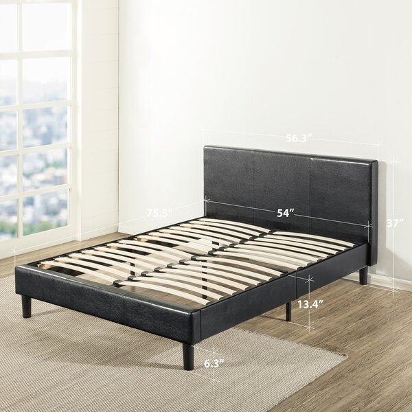 Nicolaus Upholstered Faux Leather Platform Bed by Latitude Run