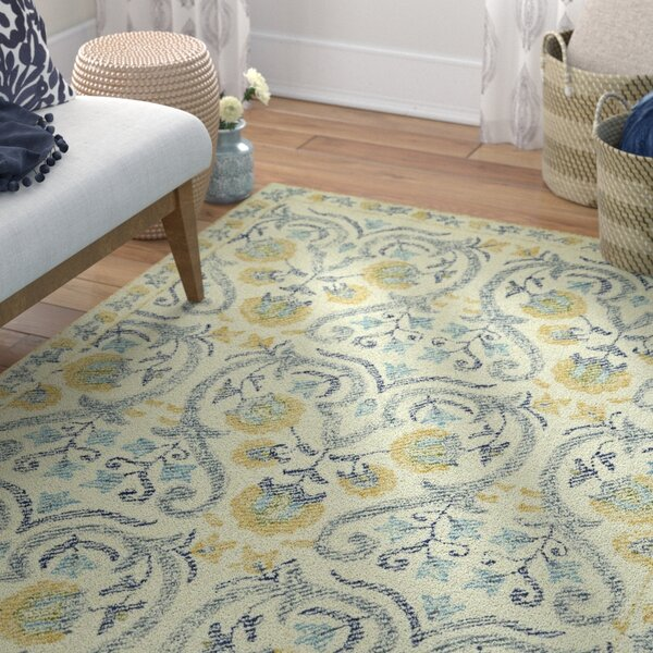 Locust Grove Hand-Tufted Beige/Yellow Area Rug by Bungalow Rose